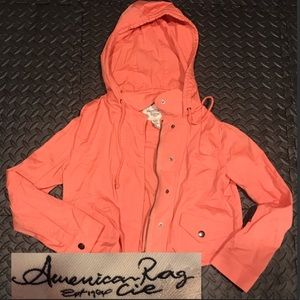 American Rag peach hooded cropped cotton jacket M